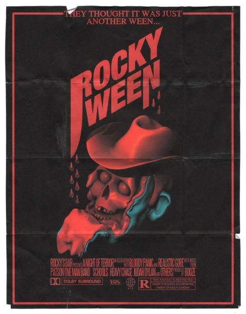 Halloween poster for Rocky's. The guy getting his face ripped off is suppose to be Patson. Spent way too much time on the blood drips. The actual scanned image is really small. Spooky side note: Hauntedween was filmed in my hometown a long time ago and you need to watch it NOW