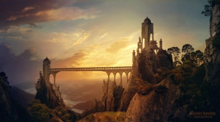 painting gorgeous landscape Magic fantasy castle concept art legend epic medieval myth magical Middle Ages fantasy art high fantasy •