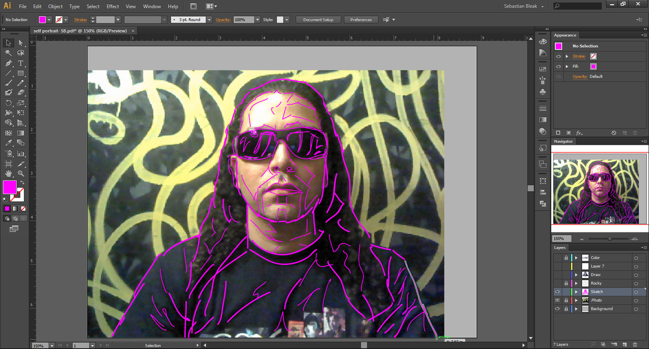 Source image for Illustrator self portrait