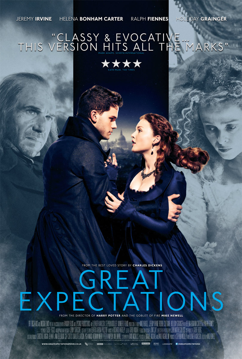 poster of Great Expectations, photographed by Gavin Bond, 2012. directed by Mike Newell, starring Ralph Fiennes, Helena Bonham Carter, Jeremy Irvine and Holliday Grainger.