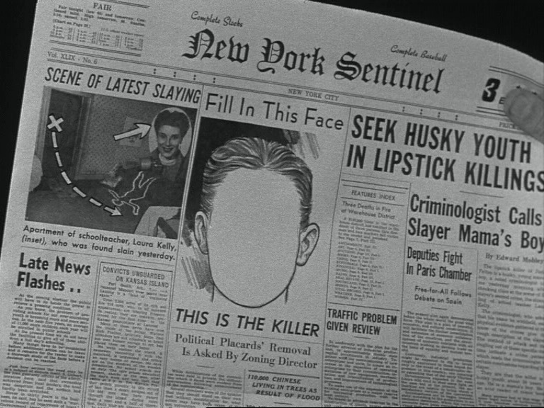 """Fill in this face: this is the killer.""  A still from While the City Sleeps (Fritz Lang, 1956)."
