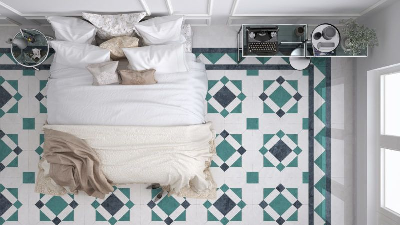 Classic bedroom, top view, with marble old vintage blue and turquoise tiles