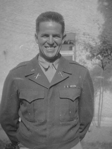 16. 1st. Lt. Tom Marriott showing  his Bronze Star with Oak Leaf cluster and bronze battle stars on the European, African, Middle Eastern Campaign Ribbon (EAME). The 244th earned all five battle stars in the ETO.  The five bronze battle stars are replaced with a single silver star which represents five battles.