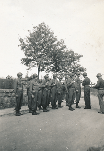 58. Enlisted members receiving awards, Cham Germany. Major Carey A. Clark, Major Robert G. Humphrey presenting Bronze Stars Cham Germany