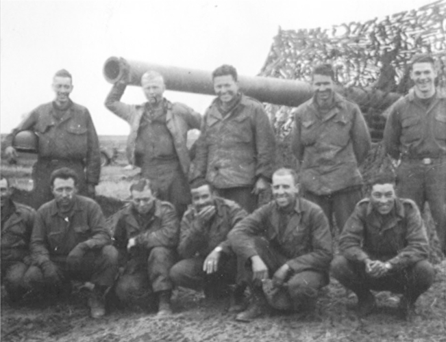 6a. Enlargement of photo No.6.   Baker Battery, No. 1 Gun Section. February 1945, Two days prior to going into the Siegfried Line