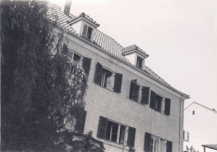 125. B Battery Officers  just across the street from the Schwager Villa, 244th Headquarters. Telephone wires run to the second floor and down into the first floor from HQ. Cham Germany
