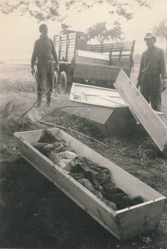 141. SS PW troops burying deceased German Soldiers Cham Germany, 10 May to 11 July, 1945