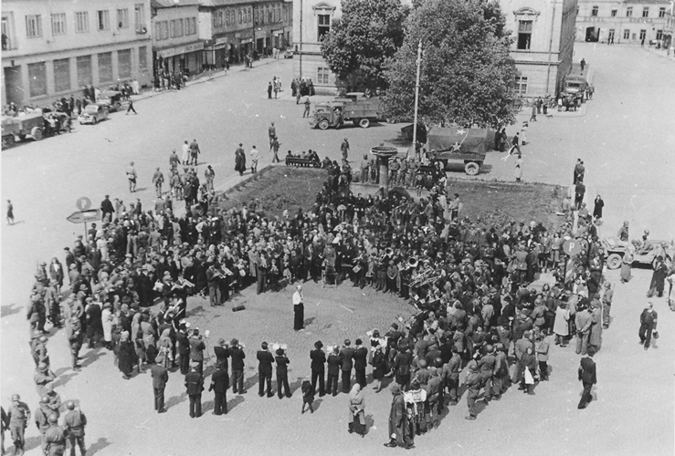 446. Sušice town square V-E Day taken from the Hotel Fialka Czechoslovakia