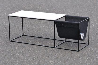Q10 Sideboard Beistelltisch Stahl mit Tischplatte aus lackiertem MDF mit Zeitungsständer Filz lieferbar in schwarz oder weiß