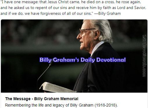 Devotional God of Order By Billy Graham March 13