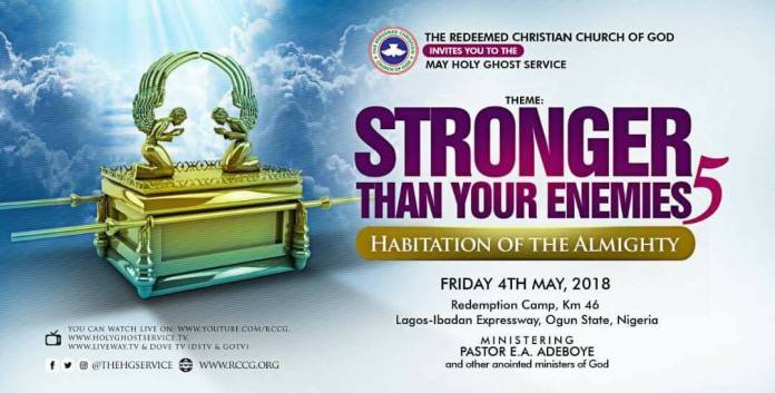 RCCG Live Streaming May 2018 Holy Ghost Service