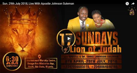Live With Apostle Johnson Suleman