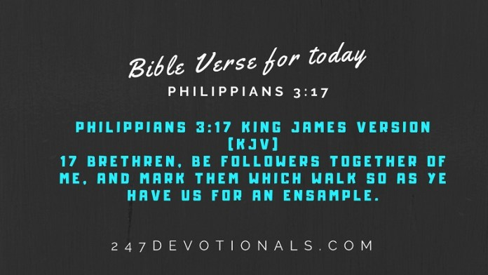 Bible Verse for today Philippians 3:17 #247devotionals