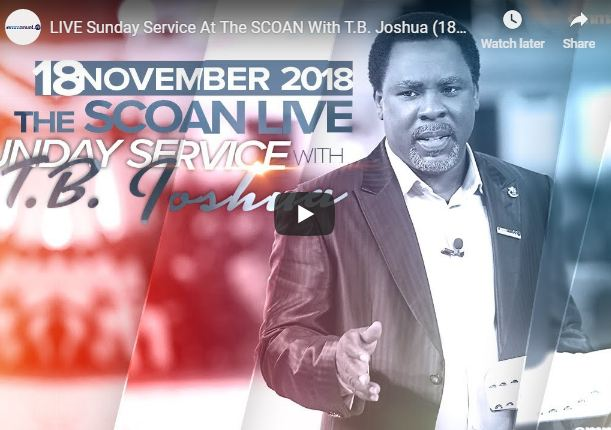 LIVE Sunday Service At The SCOAN With T B Joshua November 25 2018
