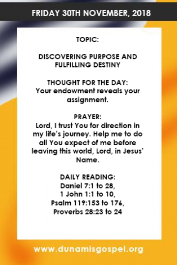 Pastor Paul Enenche Devotional Friday 30 November 2018