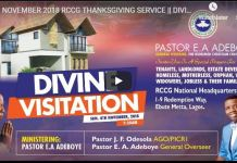 RCCG NOVEMBER 2018 THANKSGIVING SERVICE DIVINE VISITATION