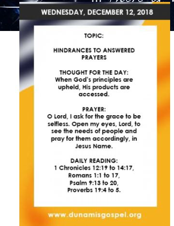 DECEMBER 2018 EDITION OF THE SEEDS OF DESTINY DAILY DEVOTIONAL BY DR. PASTOR PAUL ENENCHE