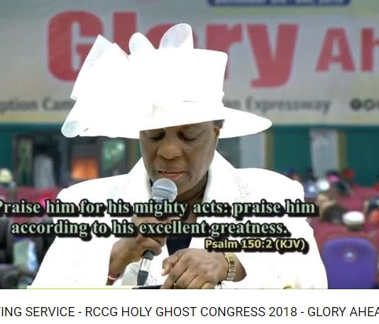 THANKSGIVING SERVICE - RCCG HOLY GHOST CONGRESS 2018
