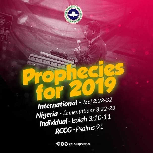 RCCG Prophecies for 2019 E.A. Adeboye