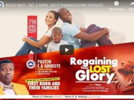 RCCG NATL. HQ APRIL 2019 THANKSGIVING SERVICE