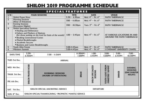 2019 Shiloh program and time table