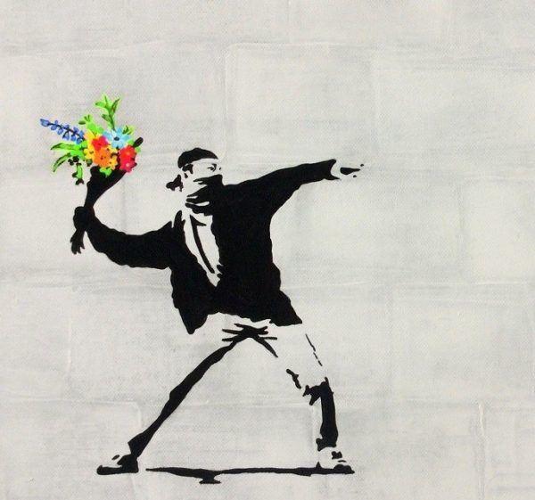 Schilder workshop organiseren als bedrijfsuitje of teambuilding-Designkeuze-Banksy-Bloemenwerper