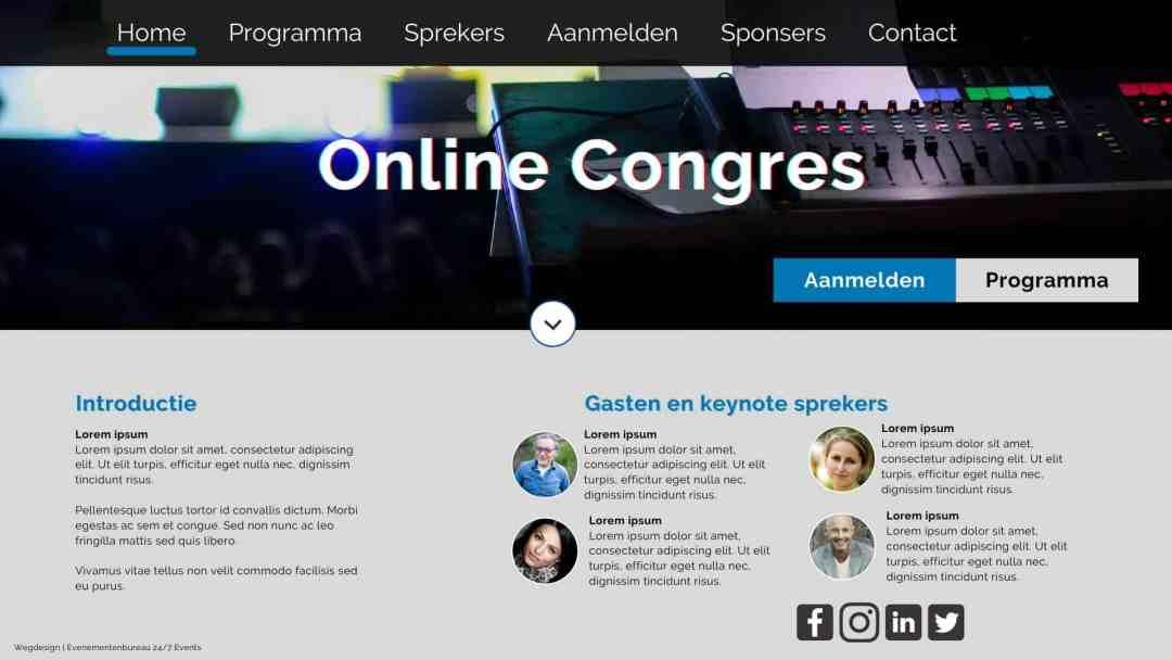 Tweede voorbeeld van een online congres website pagina, ontworpen door Evenementenbureau 24-7 Events