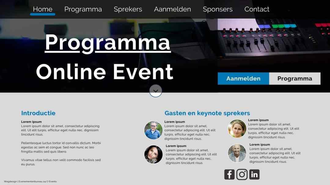 Voorbeeld uitwerking van een Online Congres of Evenement