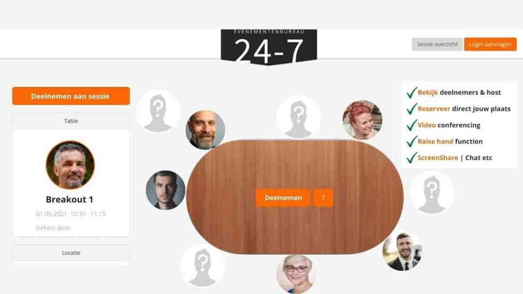 Voorbeeld van een Online Breakout Room detailpagina