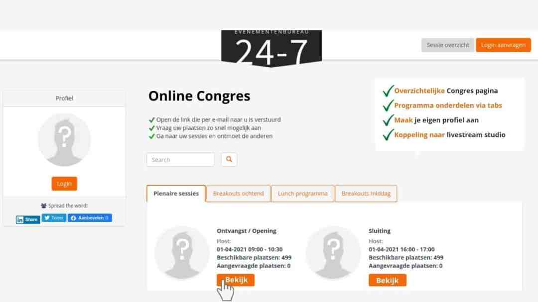 Voorbeeld van een virtuele congres pagina.