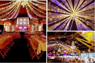 Kerstfeest zakelijk evenement personeelsfeest verlichte plafond luchtdecoratie en versiering huren organiseren afbeelding 7