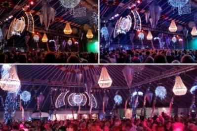 Kerstfeest zakelijk evenement personeelsfeest verlichte plafond luchtdecoratie en versiering huren organiseren afbeelding 8