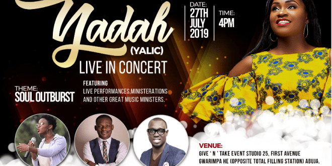 "Yadah Sets for her Live Recording Concert tagged ""Soul Outburst"" 