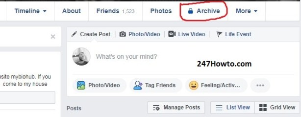 Where to find story archive on Facebook