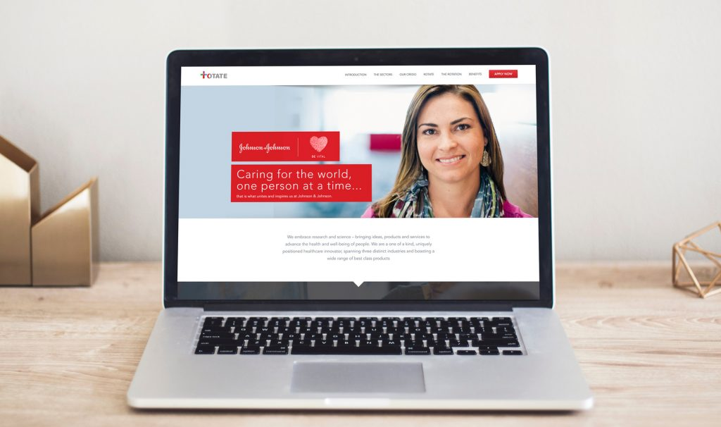 A screenshot of the Johnson & Johnson Rotate website created by 247 Labs