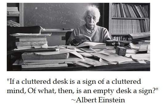 Albert Einstein Messy Desk