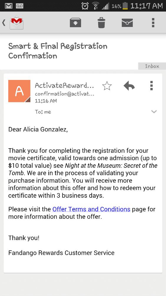 #ChooseSmart Recipe Movie Reward email