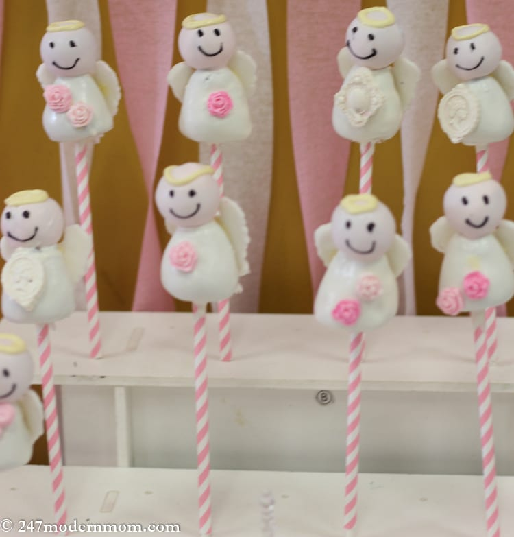 Angel Cake Pops Display