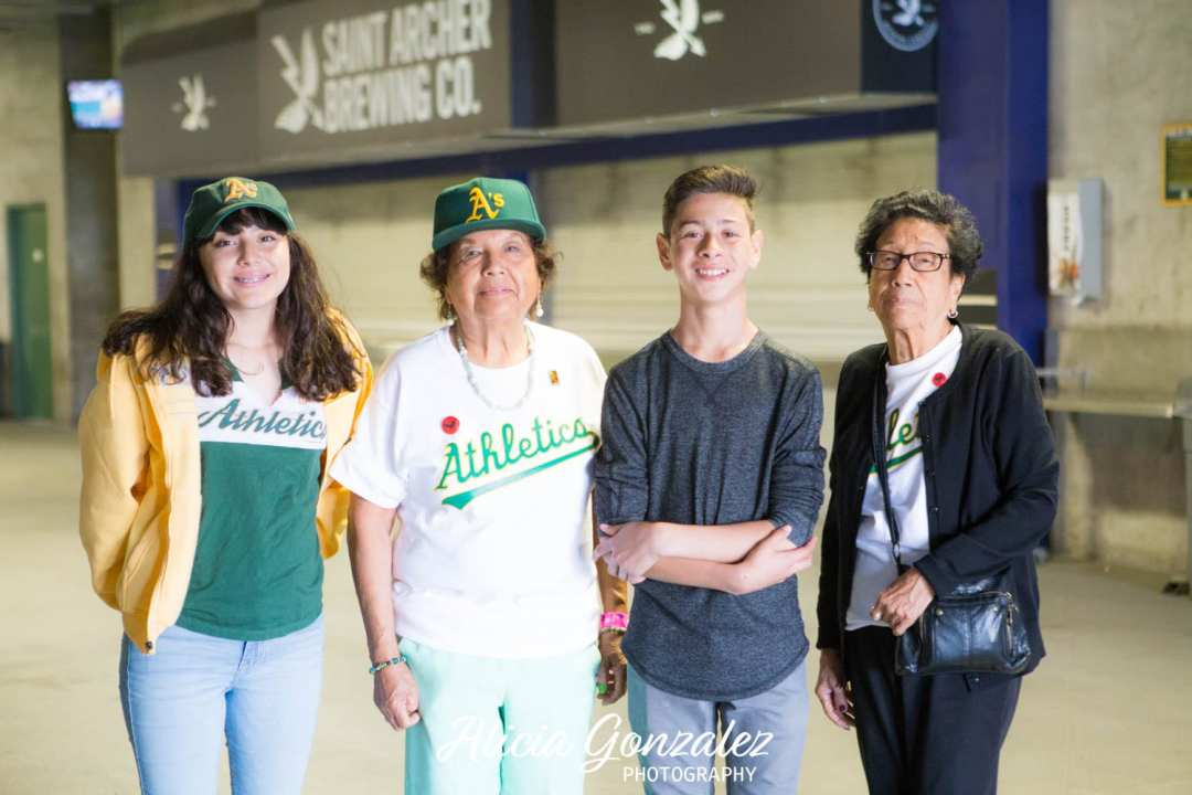 Oakland Athletics celebrates Cesar Chavez Day Pedro & Angie with Chavez Sisters