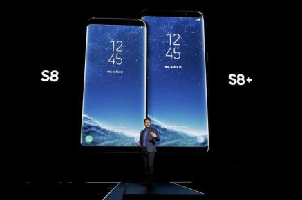 Justin Denison, Samsung senior vice president of Product Strategy, introduces the Galaxy S8 and S8+ smartphones during the Samsung Unpacked event in New York City, U.S.