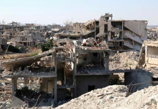 A general view shows damaged buildings in a rebel-held part of the southern city of Deraa, Syria.