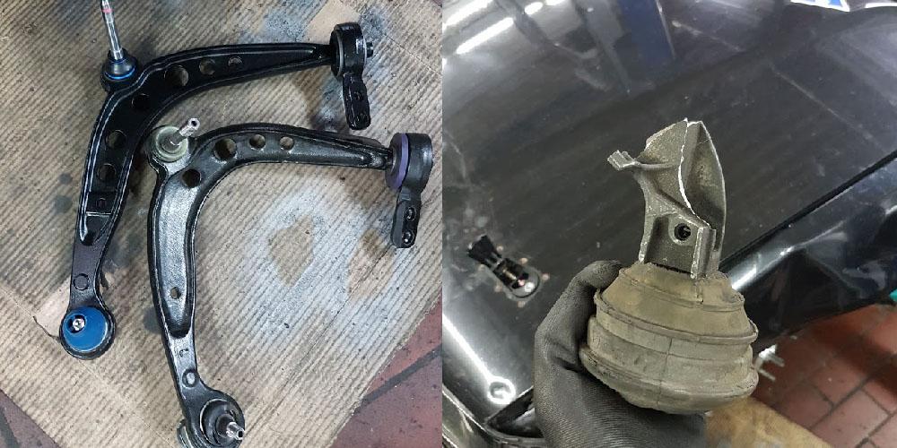 verbogener Querlenker gebrochener Motorhalter