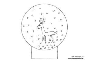 Vorlage Schneekugel u Rentier ausmalen 24 Adventskalender