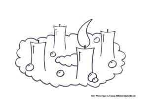 Malvorlage Adventskranz PDF 1 Kerze 24 Adventskalender