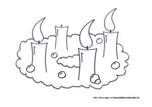 Malvorlage Adventskranz PDF 3 Kerzen 24 Adventskalender