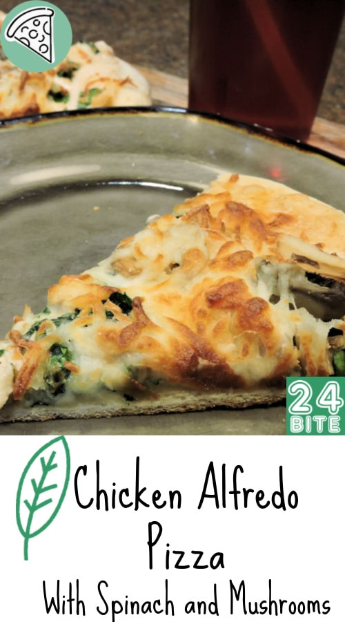 24Bite Recipe: Chicken Alfredo Pizza with Spinach and Mushrooms by Christian Guzman