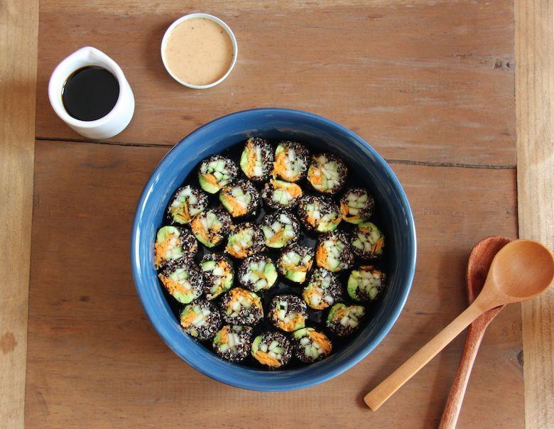 Vegetarian Quinoa Sushi // 24 Carrot Life #quinoa #vegetarian #sushi #vegan