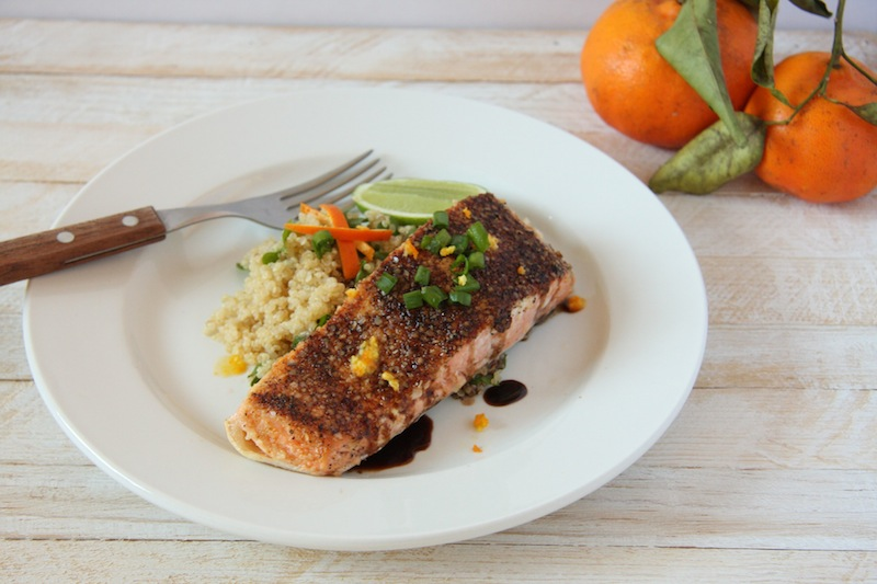 Quinoa Flake Crusted Salmon with Orange Balsamic Reduction I 24 Carrot Life
