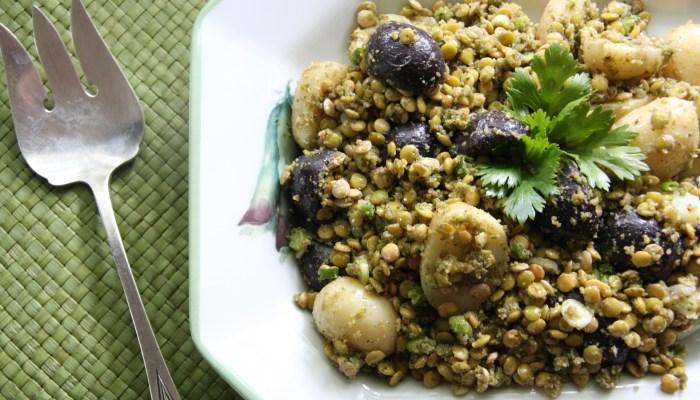 Potato & Lentil Salad with Cilantro Pesto