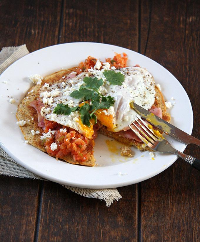 Huevos Rancheros with a Cornmeal Pancake I 24 Carrot Life